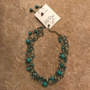 Luxe Jewelry - Pearl Turquoise aqua blue necklace & earrings set